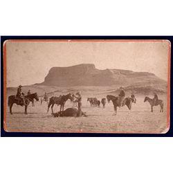 NM - Wagon Mound,Mora County - c1890 - Cowboy Branding Cattle Photograph
