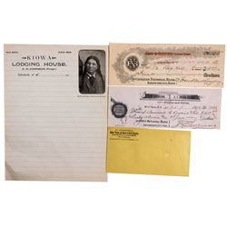 OK - c1890 - Indian Territory Checks, Letter and Envelope