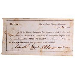 TX - Austin,Travis County - April 23, 1841 - Naval Check