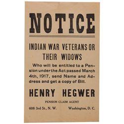 UT - 1917 - Indian War Pension Notice