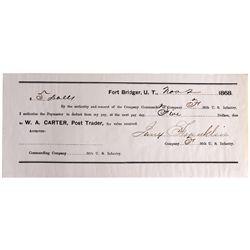 UT - Fort Bridger,Nov. 2, 1868 - Carter, W.A. Post Trader Receipt