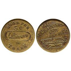 WA - Renton,King County - c1882 - J.M. Bruswick and Blake Co. Token