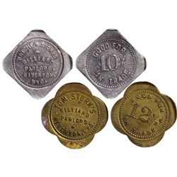 WY - Riverton,Fremont County - c1908, c1910 - Pool Hall Tokens