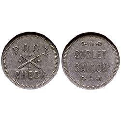 WY - Sublette County,c1900-1920 - Sublet Saloon Token