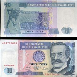 1987 Peru 10 Intis Crisp Uncirculated Note (CUR-05607)