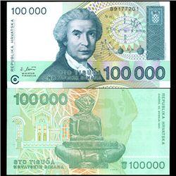 2003 Croatia 100000 Dinara Note Crisp Unc (COI-3886)