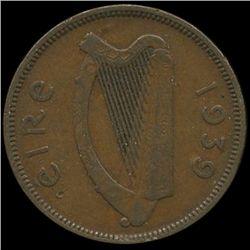 1939 Ireland 1/2p XF Scarce (COI-10143)