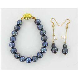 Black & White Saltwater Pearl Bracelet & Earrings (JEW-1922)
