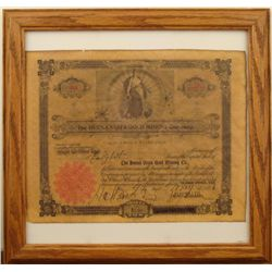 BUENA VISTA GOLD MINING CO STOCK CERTIFICATE 1896 FRAMD