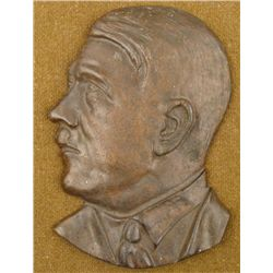 ORIGINAL CAST IRON ADOLF HITLER PROFILE BUST PLAQUE