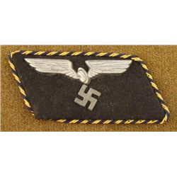 NAZI RAILROAD OFFICER'S COLLAR TAB W/SWASTIKA, RR WHEEL