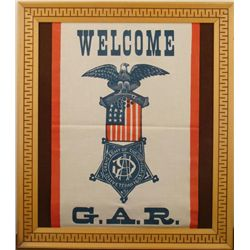 """WELCOME GAR"" BANNER FRAMED -CIVIL WAR VETERANS"