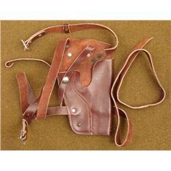 BROWN LEATHER HOLSTER VINTAGE DOUBLE STRAP TYPE