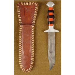 WWII PACIFIC MARINES BOWIE TYPE FIGHTING KNIFE W/SHEATH