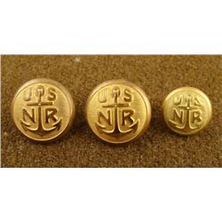 3 Civil War Naval Original Gilt Buttons USNR w/ Anchor
