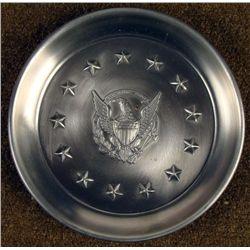 AMERICAN EAGLE & 13 STAR PEWTER TRAY MERIDIAN DIE CO.