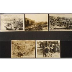 """5 6x8"""" BRIT PRESS RELEASES WWI--WESTERN FRONT-ORIG"""