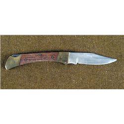 "LARGE 8 1/2"" FOLDING KNIFE-WOOD HANDLE W/BRASS TRIM"