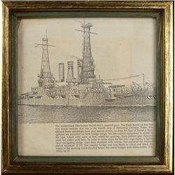 WWI U.S. SHIP U.S.S. OHIO DRAWING FRMD-DEDICATION, ID'D