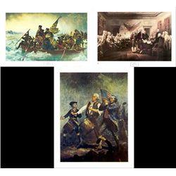 3 American History Art Prints George Washington 1776