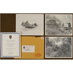 3 WWII REPRINTS OF NORMANDY PHOTOS FEDERATION CERTIF