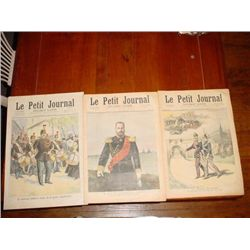 Set of 3 antique French newspapers dating 1890's