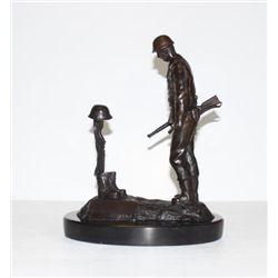 Excellent Bronze Sculpture Fallen Soldier World War II
