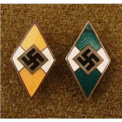 2 NAZI HITLER YOUTH FOREIGN MEMBERSHIP PINS MAKER MARK