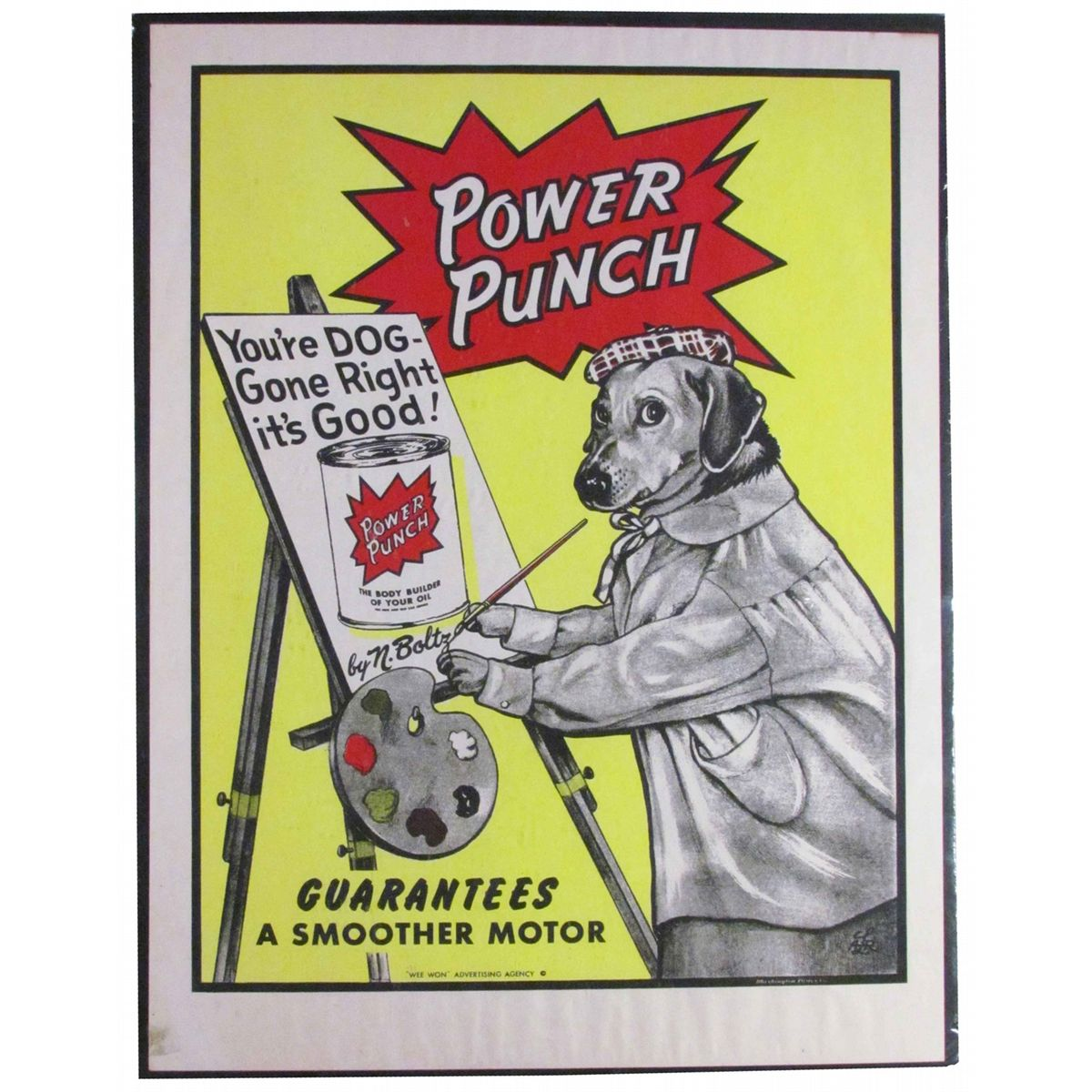 Power Punch Motor Oil Paper Sign