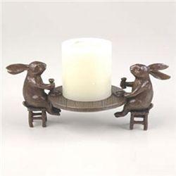 Dining Rabbits Pillar Candle Holder