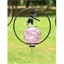 Pink Glass Hummingbird Feeder