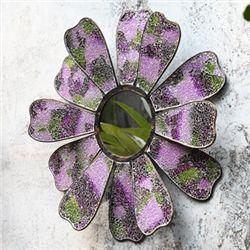 Pink Mosaic Glass Flower Mirror