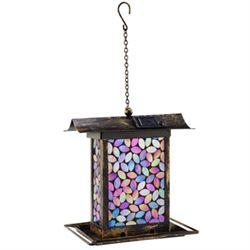 Pink Mosaic Glass Birdfeeder