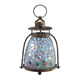 Blue & Green Mosaic Glass Lantern / Candle Holder