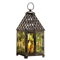 Blue Mosaic Glass Lantern / Candle Holder