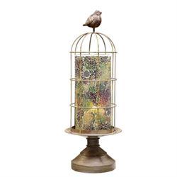 Bird Cage Mosaic Glass Hurricane