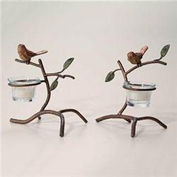 Pair Sparrow Votive Holders
