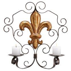 Fleur De Lis Wall Sconce Candle Holder