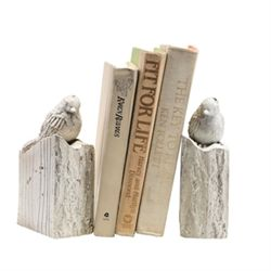 Whitewashed Bird Bookends