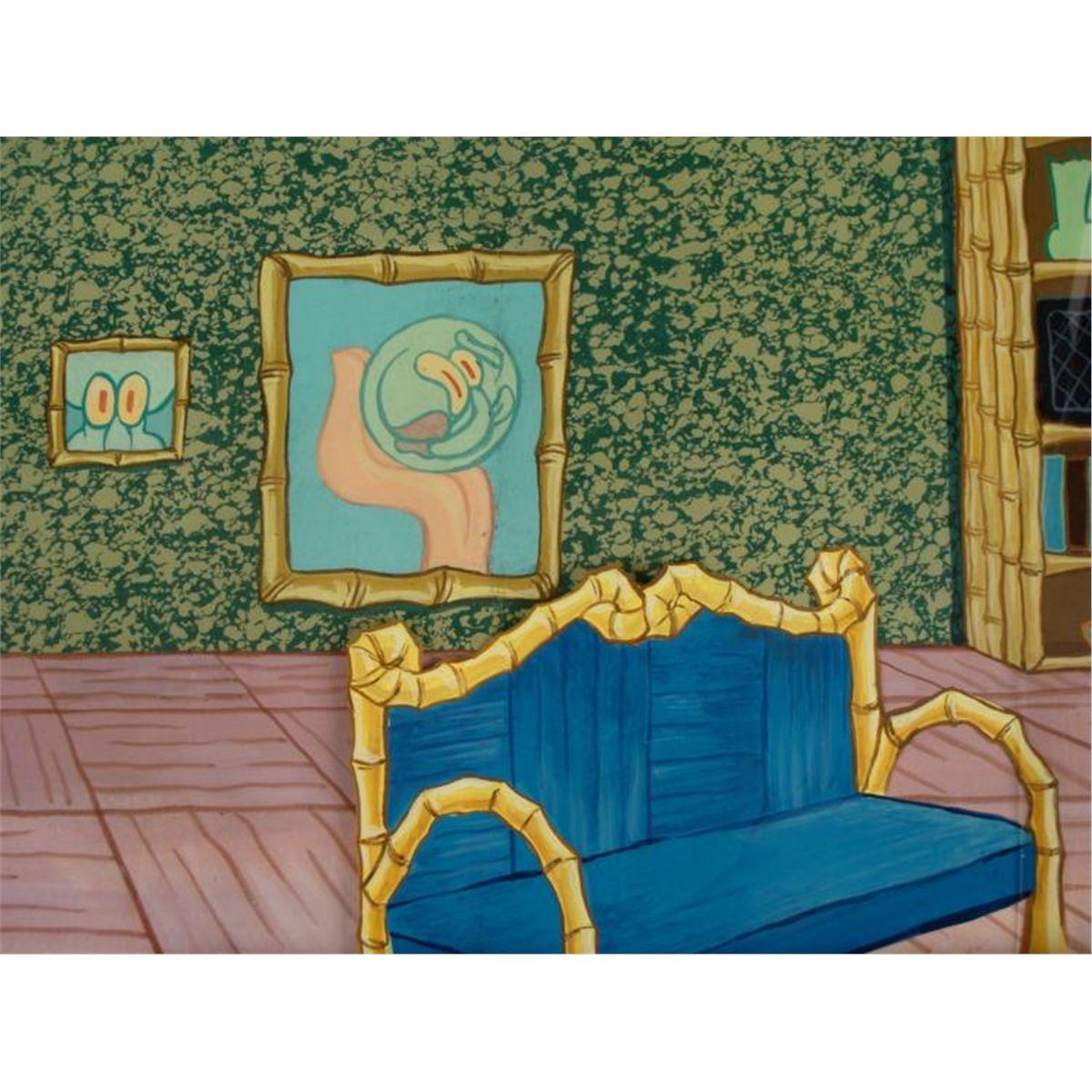 Orig Spongebob Animation Cel Background Squidwards Room