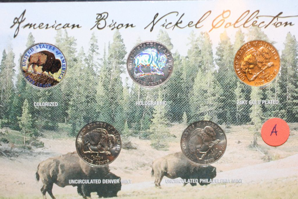 2005 American Bison Nickel Collection, Colorized (1), Holographic (1), 24K  Clad Gold (1), UNC Denver