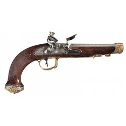 Magnificent Exhibition Quality Gold Finished Russian Tula Arsenal Attributed Flintlock Pistol