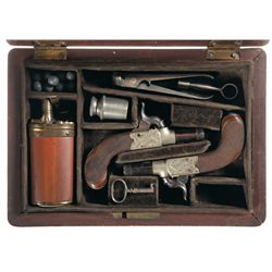 Cased Engraved Pair of Goddard & Co Vest Pocket Percussion Pistols with Accessories