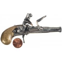 "Unmarked Miniature ""Queen Anne"" Style Flintlock Pistol with Engraved Brass Grip"