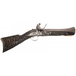 Fine Gold Accented Flintlock Damascus Barrel Blunderbuss with Extensively Wired Inlaid Stock