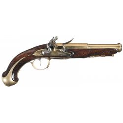 Fine French Brass Barreled M R Versailles Marked Flintlock Pistol