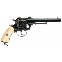 Gold Inlaid Charles Lirhantz Double Action Pinfire Revolver with Ivory Grips