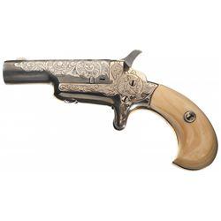 Custom Engraved Colt Third Model 41 Caliber Derringer with Ivory Grips