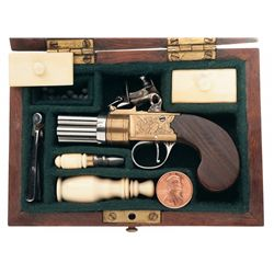 Miniature Cased London Flintlock Pepperbox Pistol with Accessories