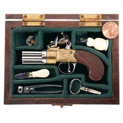 Miniature Cased London Flintlock Pepperbox Pistol with Accessories